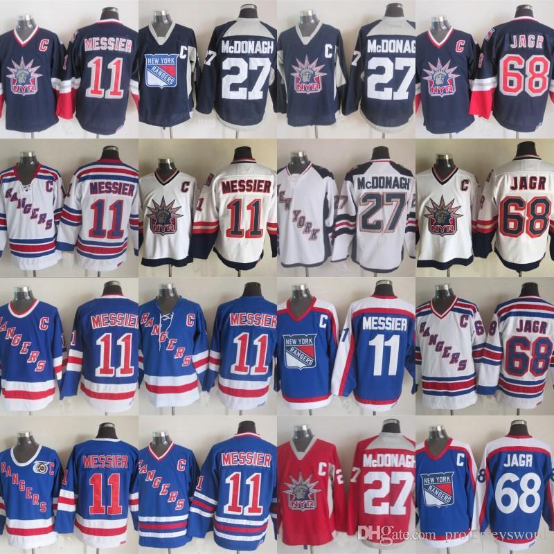 sports shoes ce326 bc904 New York Rangers Jersey 11 Mark Messier 27 Ryan McDonagh 36 Mats Zuccarello  68 Jaromir Jagr Retro Hockey Jerseys Mix Order