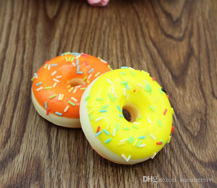 5 CM simulationen brot anhänger runde creme bunte süßigkeiten squishy donuts kinder kreative lebensmittel spielzeug PU anhänger kinder geschenk R2435