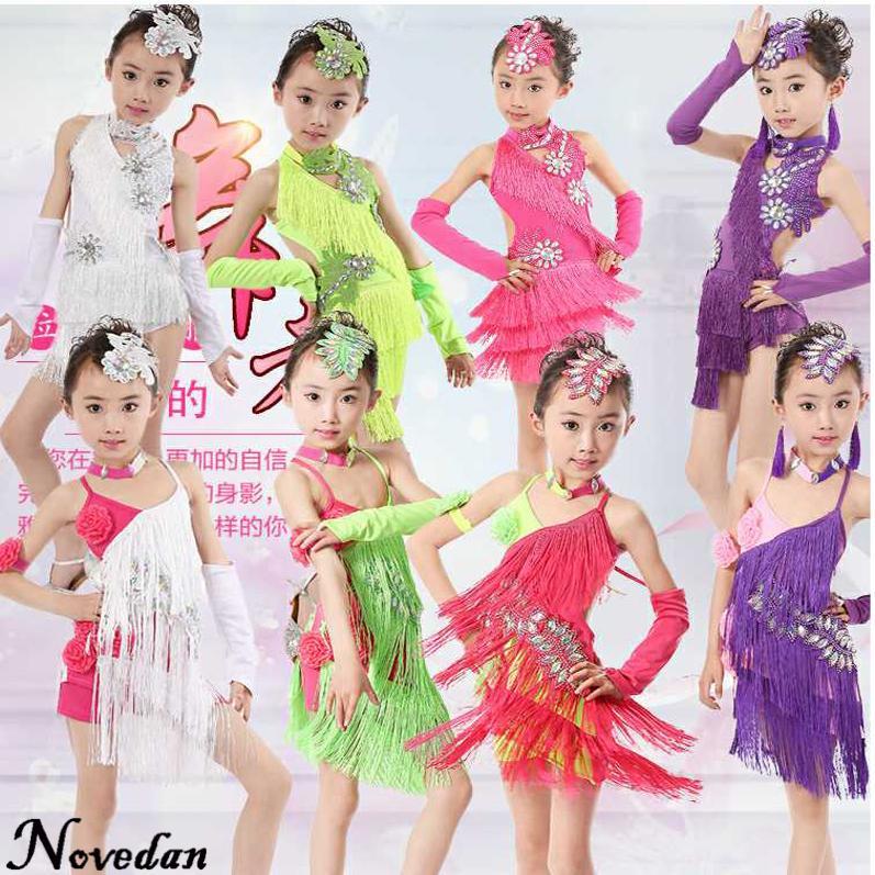 62da28e0 2019 Girls Latin Dance Dresses Sequin Fringe Salsa Tango Dress Child Samba Costume  Clothes Rumba Ballroom Dancing Dresses For Kids From Saltblue, ...