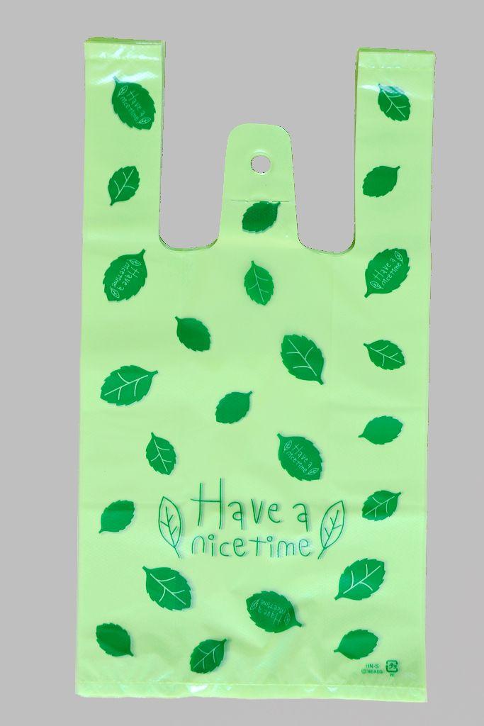 Green leaves Plastic Gift Bags, Plastic shopping bags
