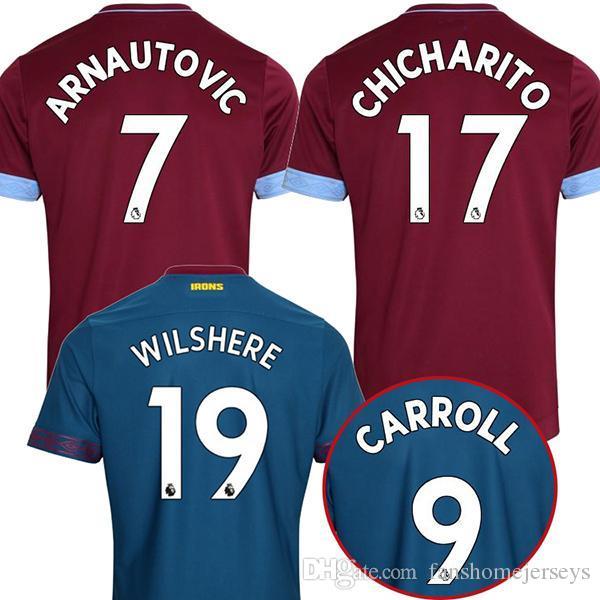 07a9325a4 Compre 2018 2019 West Ham United Futebol Jersey Arnautovic Snodgrass  Snodgrass Carroll Chicharito Ayew Casa Fora Personalizado 18 19 Camisa De  Futebol De ...