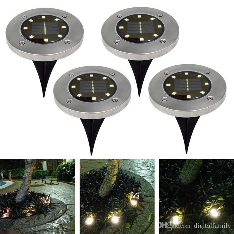 Énergie solaire 8 LED allumant la lumière souterraine enterrée pour la lampe de décoration de paysage de pelouse de jardin de chemin extérieur