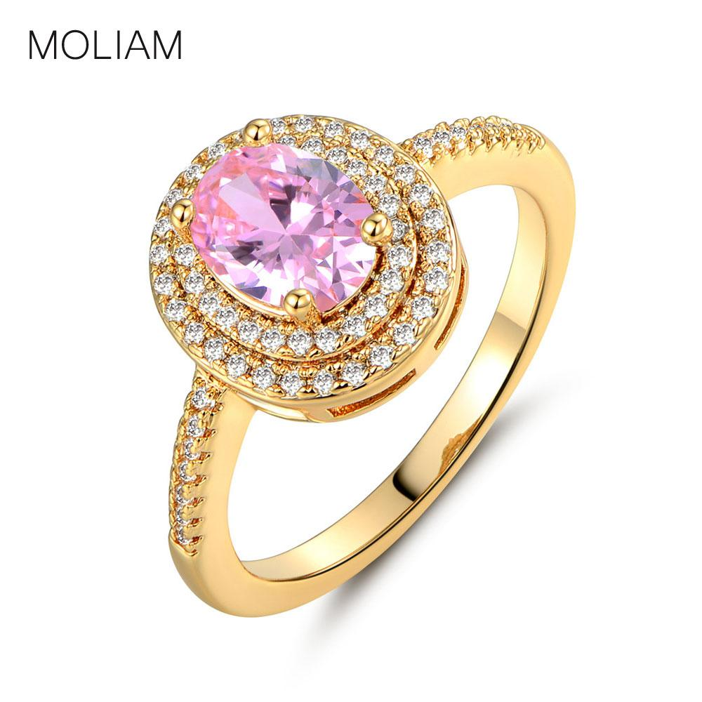 2019 Moliam Romantic Pink Oval Cubic Zirconia Ring Women Gold Color Wedding Band Crystal Finger Rings Jewelry Drop Shipping Mlr294 From Value333: Drop Oval Wedding Ring At Websimilar.org