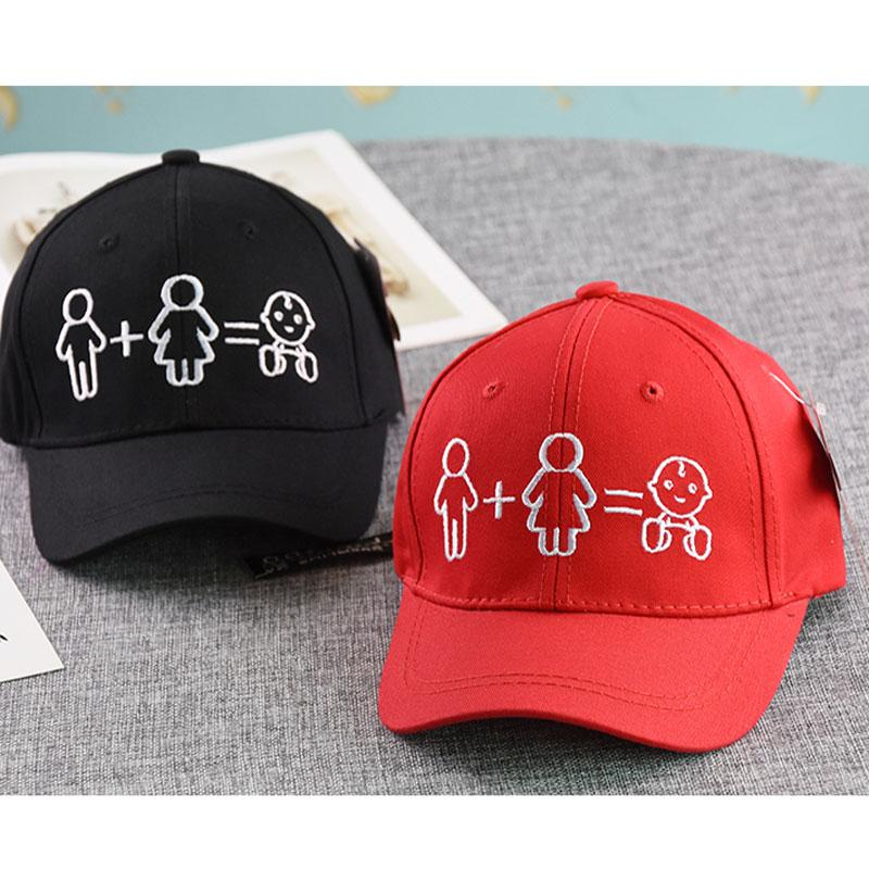 Long Strap Children's Baseball Cap Father Mother Family Hat Cartoon Pattern Black Red Blue Yellow Pink