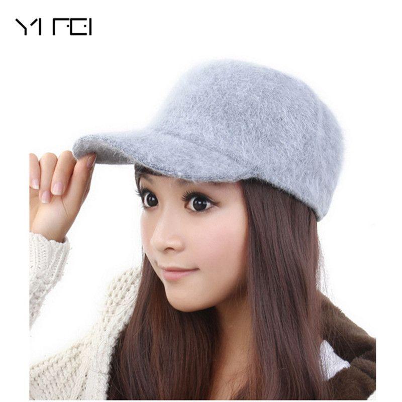 YIFEI Brands Winter Warm Hat 2017 New Women Rabbit Hair Caps ... a7fbdbfe747a
