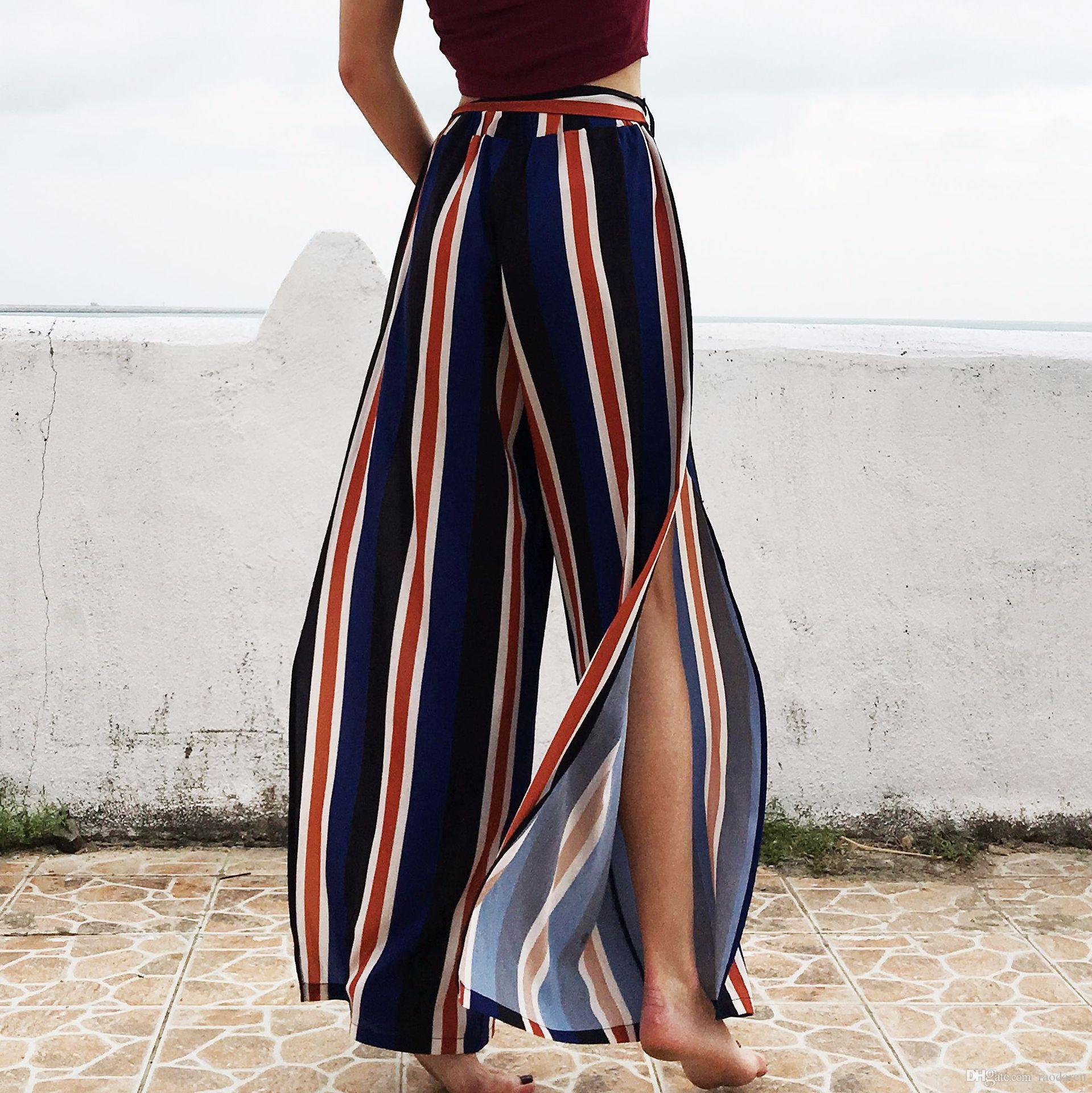 2019 Women Pants Summer 2018 Harem Casual Chiffon Trousers Striped Spilt  Wide Leg Holiday Party Sex Clothing From Raodaren, $12.68 | DHgate.Com