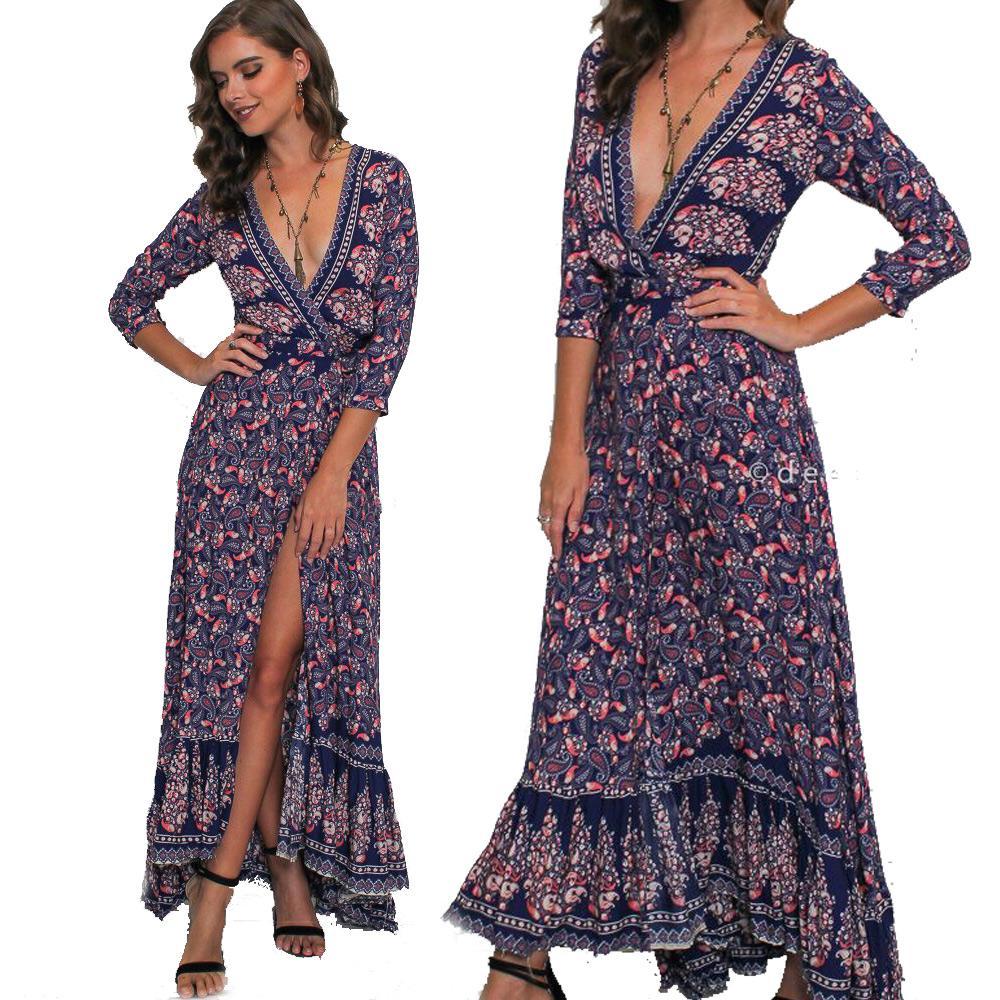 bc76fe25294338 Großhandel Elegant Herbst Tiefem V Ausschnitt Wrap Kleid Bohemian Print  Rüschen Trim Lila Maxi Langes Kleid Für Frauen Von Clothes_zone, $18.1 Auf  De.