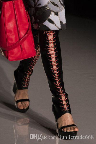 Pendenza con cinturino al ginocchio aperto tacchi alti scarpe in vera pelle Cinturino europeo e americano con cinturino alla caviglia