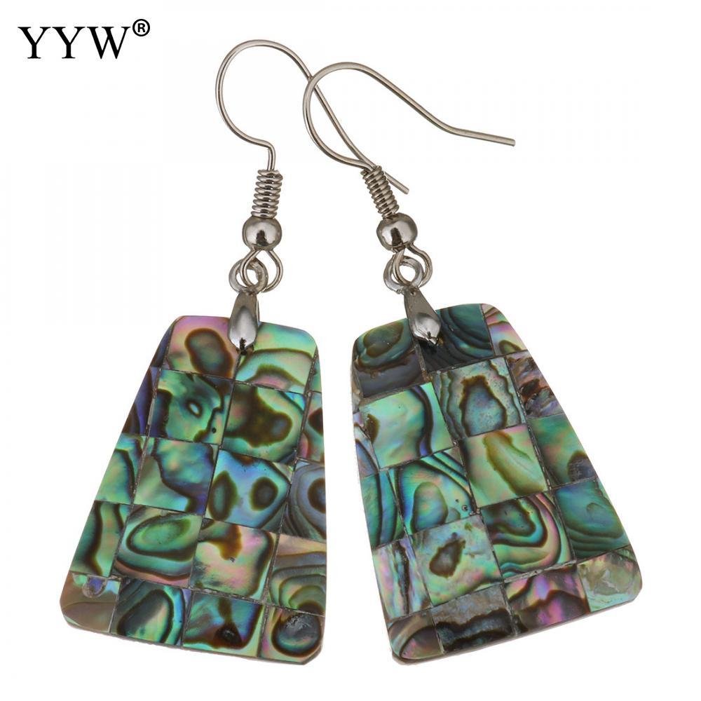 777e08537 2019 Shell Dangle Earrings Brass With Abalone Shell Geometric Pattern Silver  Color Plated For Woman 49mm Sold By Pair From Linyicity, $32.97   DHgate.Com