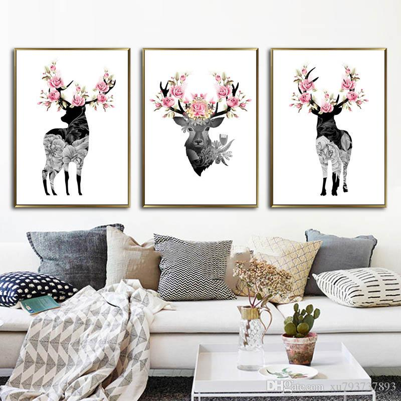 2018 Nordic Style Minimalist Abstract Black Deer Flower Canvas Painting  Wall Art Oil Poster Pictures For Living Room Home Decoration From  Xu793737893, ...