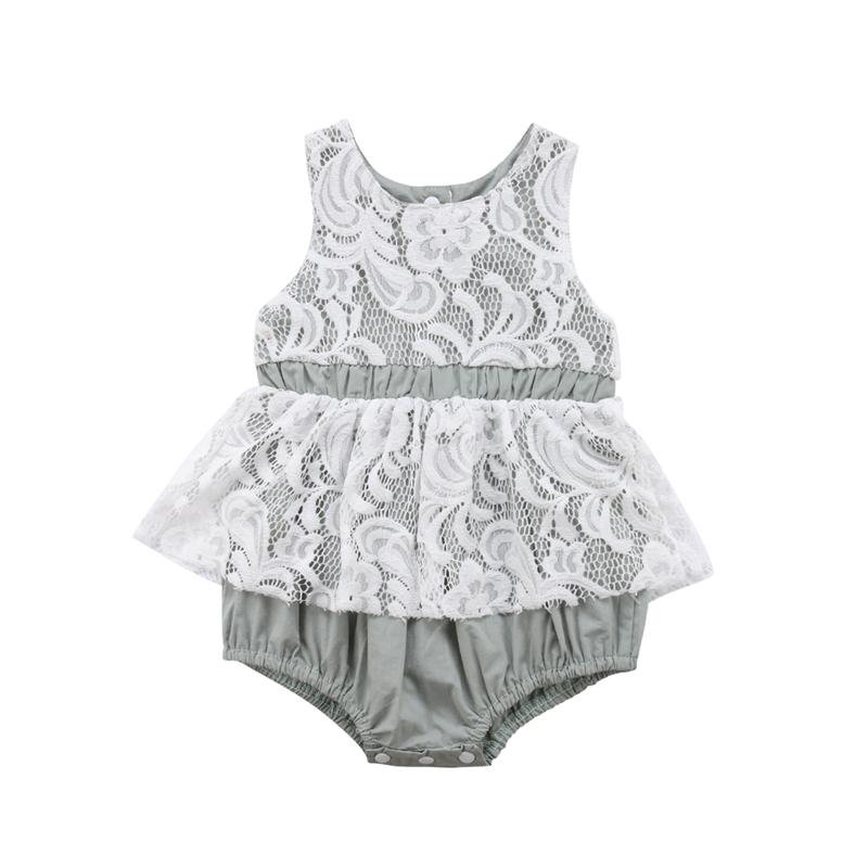 ce809f36eb39 Infant Baby Girl Lace Floral Romper Newborn Kids Sleeveless Triangle ...