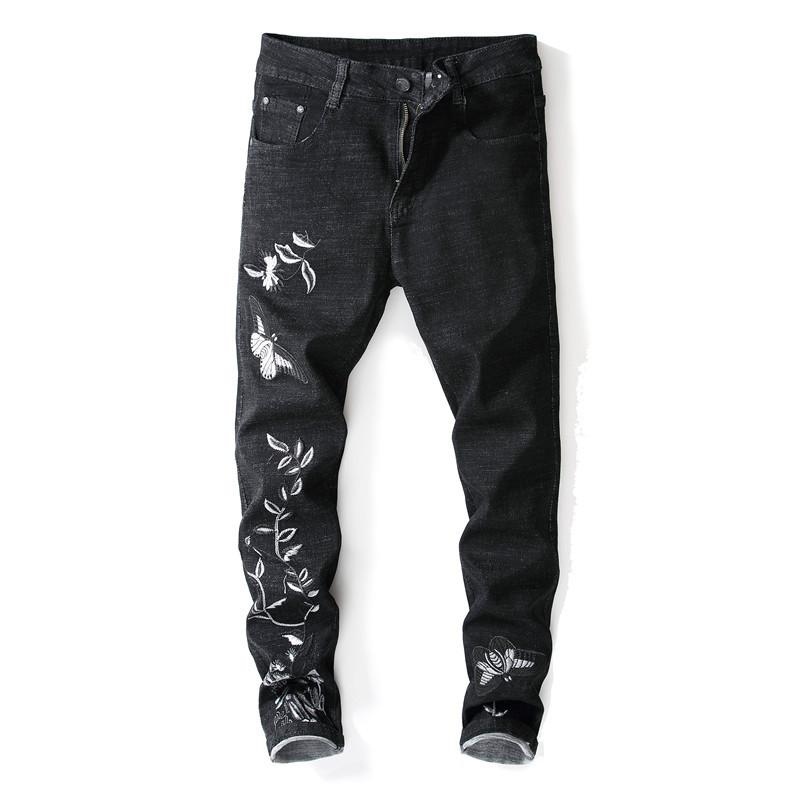 b434dd1d56 Compre Nuevo Diseñador De Moda Mens Slim Fit Punk Jeans Para Hombre Lápiz Pantalones  De Mezclilla Bordado Negro Flores Pantalones Stretch Street Style Men A ...