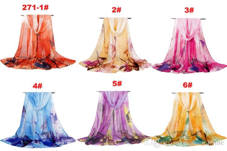 Nueva llegada de la moda bufanda de las mujeres grandes hojas de impresión gasa bufandas de seda finas largas chales otoño e invierno hijab envuelve cubierta de playa