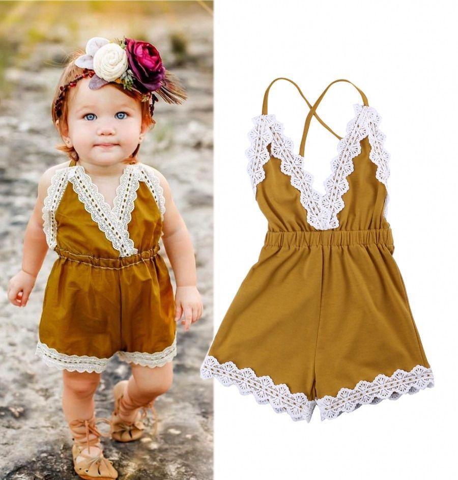 2017 nova criança infantil verão recém-nascido meninas do bebê amarelo lace macacão romper sunsuit one-peças roupas crianças roupas crianças