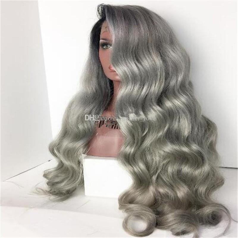 bd13b2836 Hot Brazilian Ombre Grey Full Lace Human Hair Wigs Wavy Silver Gray  Glueless Front Lace Wigs 130% Density With Bleached Knots Gray Wig Hair  Extentions ...