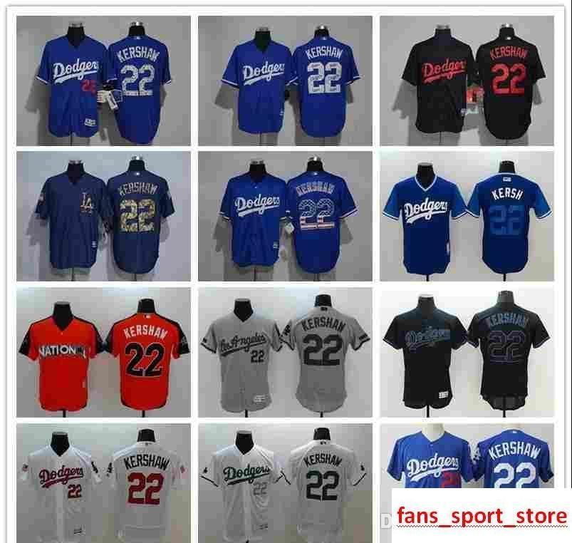 2076dcc9 2019 Men's Women Youth LA Dodgers Baseball Jersey #22 Clayton Kershaw Home  Blue Gery White flag fashion 100% stitched Baseball Jerseys