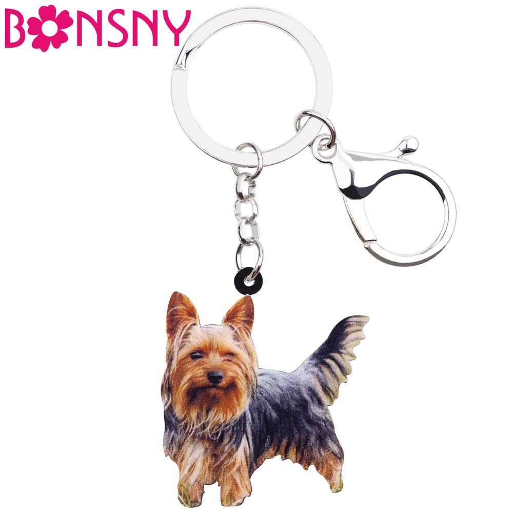 Acrylic Winking Yorkshire Terrier Dog Key Chains Animal Keyrings For Women  Girl Ladies Handbag Car Key Charms Kids Gift