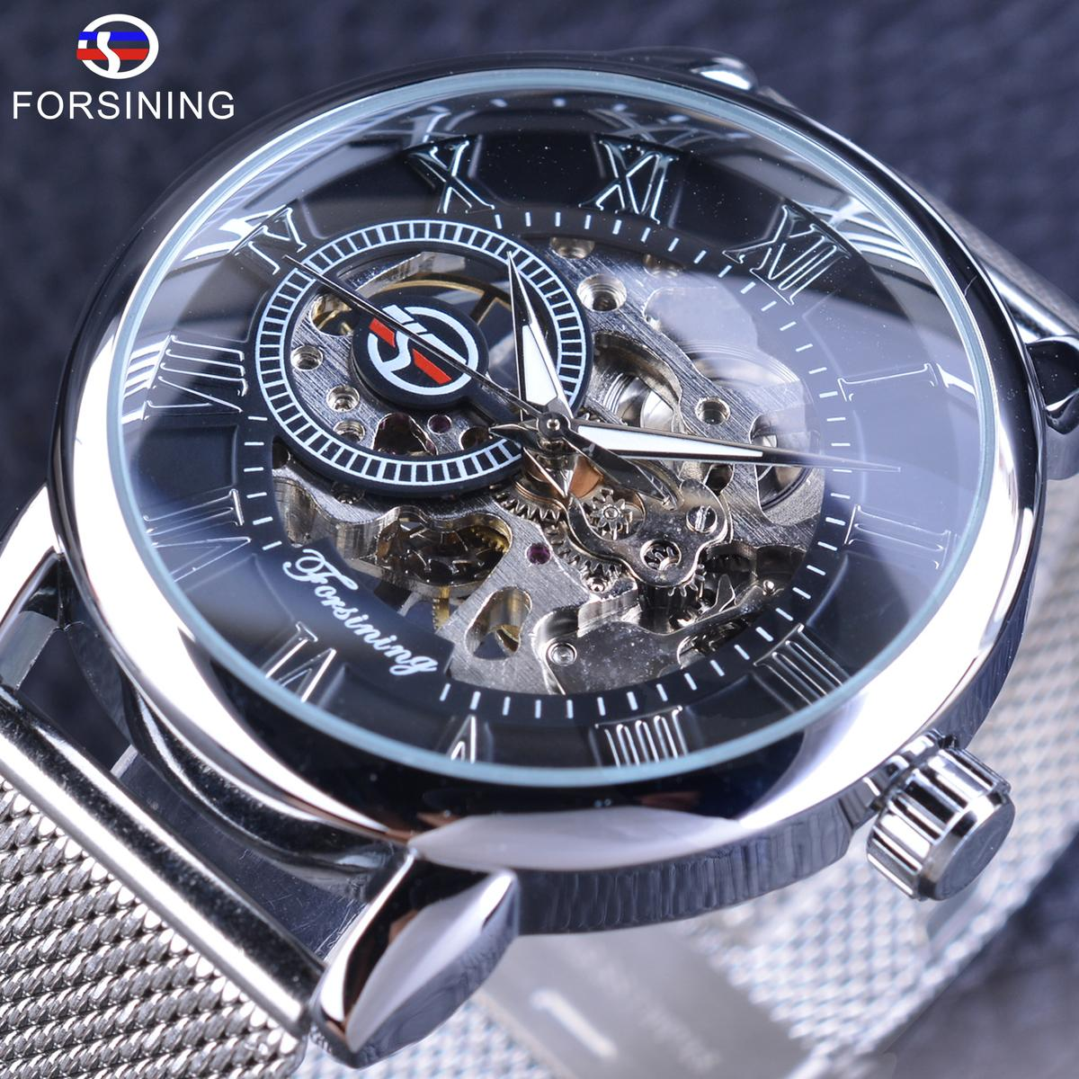 Forsining Mechanical Watches Fashion Skeleton Clock Silver Stainless Steel Band Casual Men's Wrist Watch Luminous Hands S917