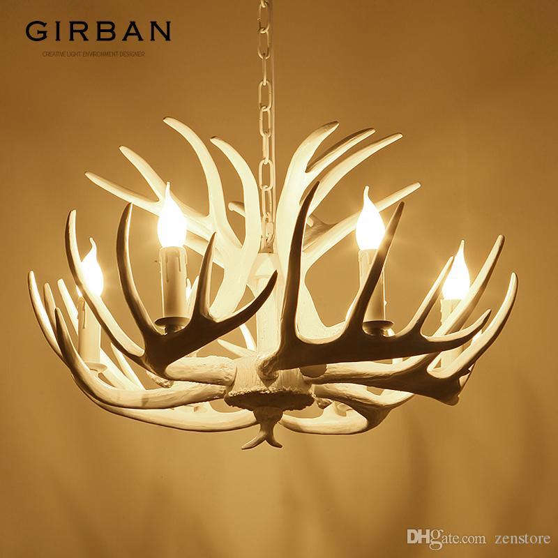 Girban Marke Kerze Antler Kronleuchter Retro Resin Hirschhorn Lampen Weiß Hauptdekoration Leuchte Decke E14