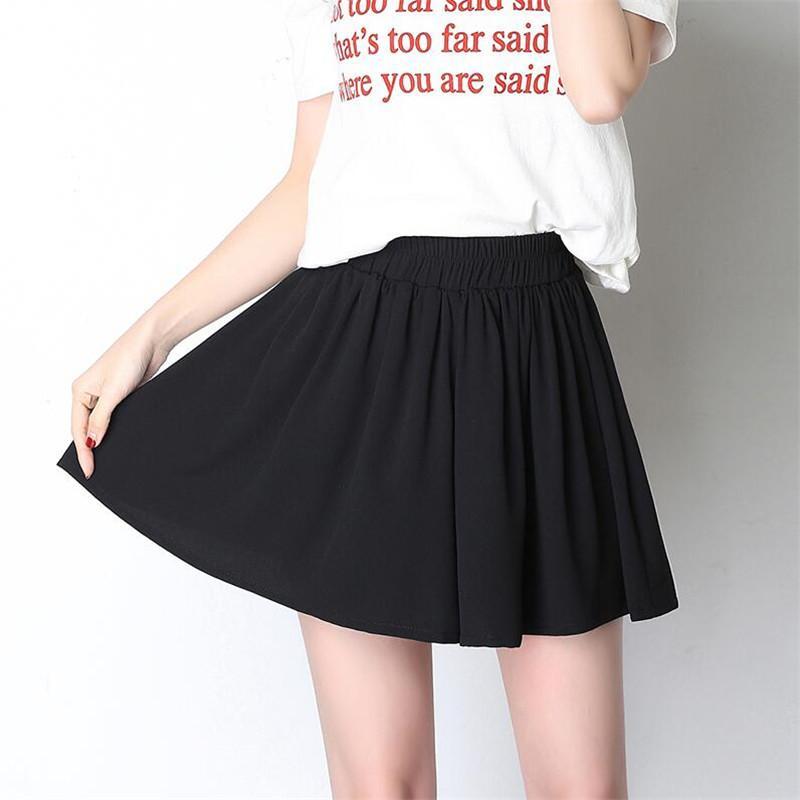 Compre 7XL Tallas Grandes Pantalones Anchos De Pierna Mujer Verano Suelta Plisada  Elástico De Cintura Alta Faldas Cortas De Gasa Negro Feminino 5XL 6XL A ... 865b01ad2fc4