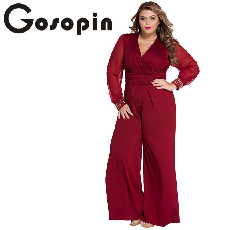Gosopin Hot Selling Woman Wide Leg Elegant jumpsuits Black Embellished Cuffs Long Mesh Sleeves Jumpsuit LC6650 Combinaison Femme