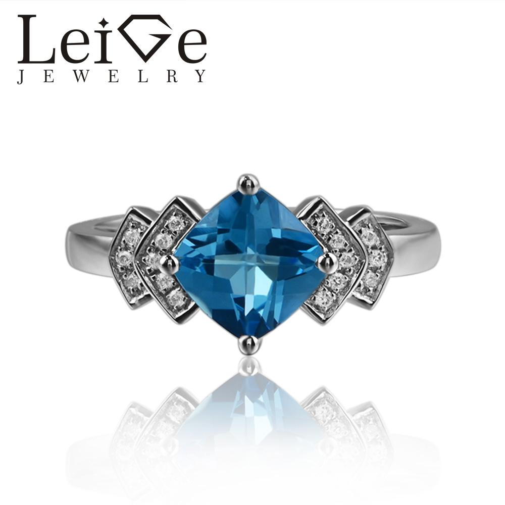 Leige Jewelry Swiss Blue Topaz Rings Cushion Cut Blue Gemstone Anniversary Rings For Woman 925 Sterling Silver Customized
