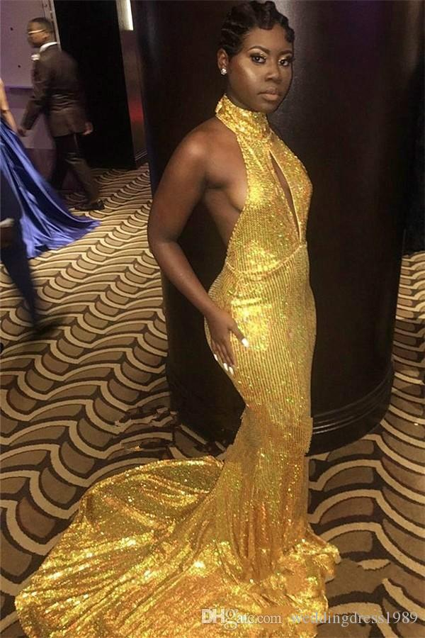 Sexy Gold Sequins Mermaid Prom Dresses Backless High Neck Black Girl African Formal Party Arabic Evening Gowns Guest Wear Robe De Soiree