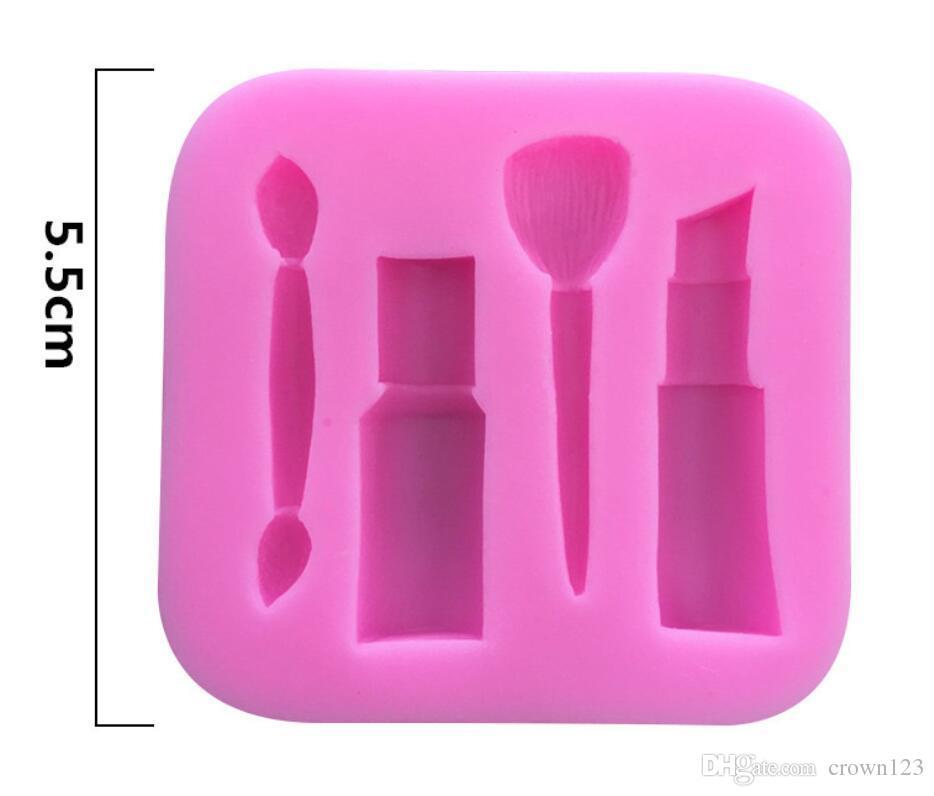 Las mujeres maquillaje cosmético lápiz labial forma de silicona Fondant molde ceja se ruborizan la forma del cepillo de azúcar molde del chocolate