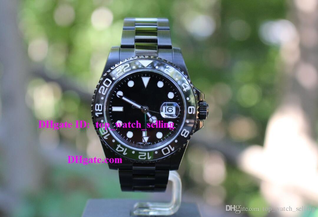 Montre Cadran 116710 Saphir De Ii Céramique Ln Lunette Qualité Supérieure Cristal Noir Pvd Dlc Gmt Homme Iv76gyfYb