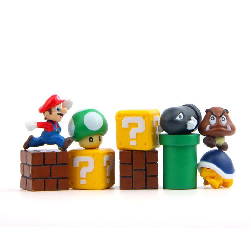 Mini Super Mario Bros Figure Mario Bullet Mushroom Tortoise Wall Well PVC Action Figure Model Toys DIY Decoration Gift B001