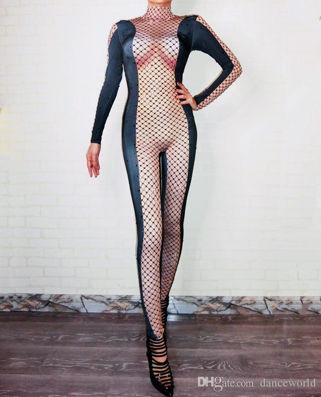 Ds Dj Dress Black Rhinestones Mesh Printed Sexy Nude Jumpsuit Female Singer DS Bodysuit Nightclub Women's Birthday Party Stage Show Clothes