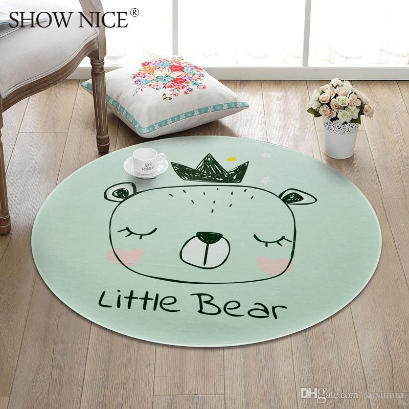 Crown Bear Round Carpets For Living Room Cute Carpet Kids Room Computer Chair Rug Home Entrance/Hallway Doormat/Rugs
