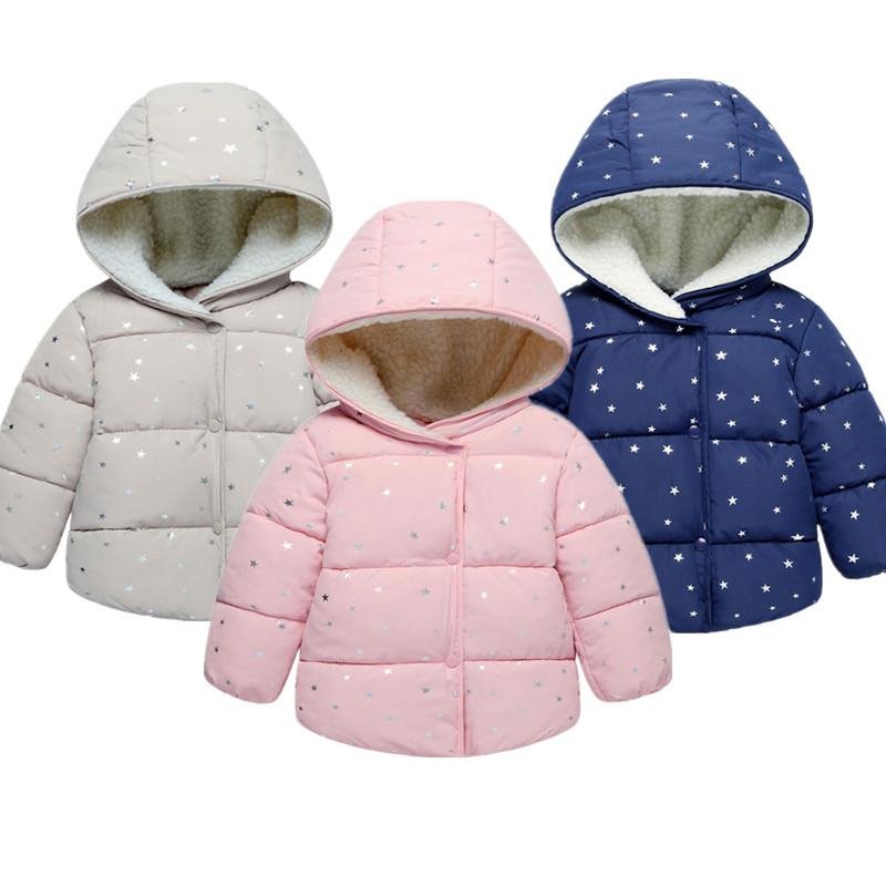 a0ac86673 Baby Girls Coat Winter Warm Children Polka Dot Hooded Jacket 2018 ...