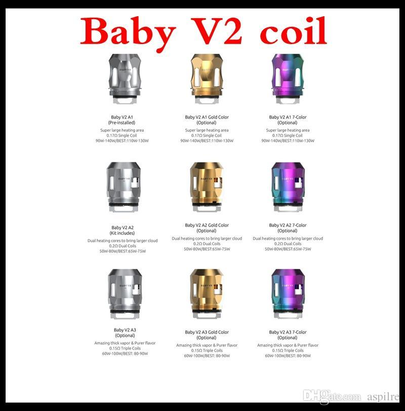100% Original TFV8 Baby V2 Tank Atomizer 5ML with Baby V2 A1 A2 Coils Faster Heating Massive Vapor & Antibacterial Anti-Leakage Design