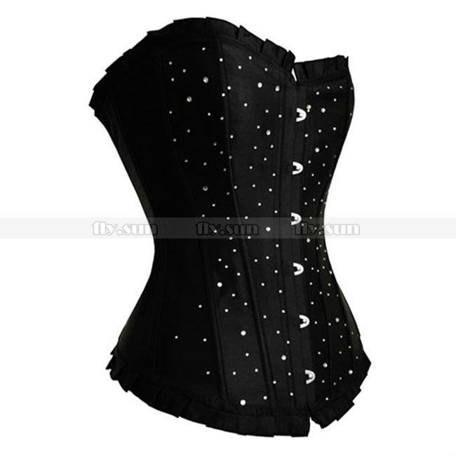 06f7b74354 2019 Black Satin Rhinestones Corset Lace Up Boned Overbust Bustier Sexy  Party Costume PLUS SIZE S M L XL 2XL 3XL 4XL 5XL 6XL From Paluo