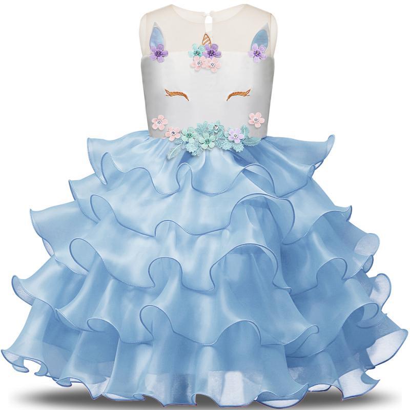 d7bd610483bf Girl Fairy Unicorn Dress Junior Birthday Clothes Infantil Vestidos Kids  Dresses For Wedding Ceremony Summer 2018 Party Clothing 3 8Y Flower Girl  Dress ...