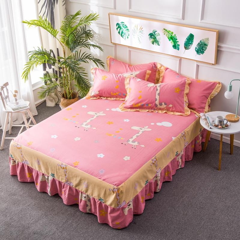 Cartoon Elastic Bed Skirt For Children Wrap Around Bed Cover Twin Full Queen Size Bedspread Bedroom Decorative Mattress Covers