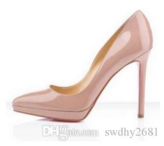 Classic Hot Sales Nude Patent Leather High Heels Women Pumps bc4dd36d432