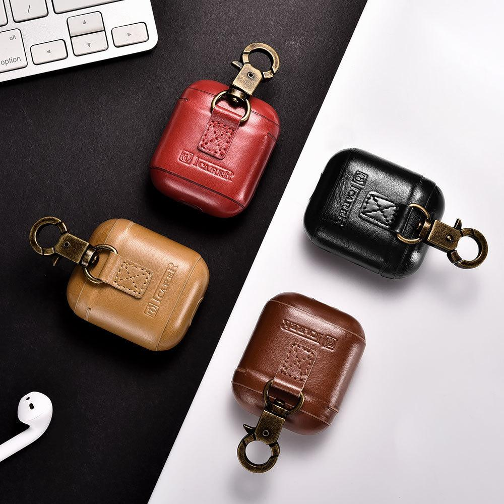 2019 Genuine Leather Bag For AirPods Case Vintage Genuine