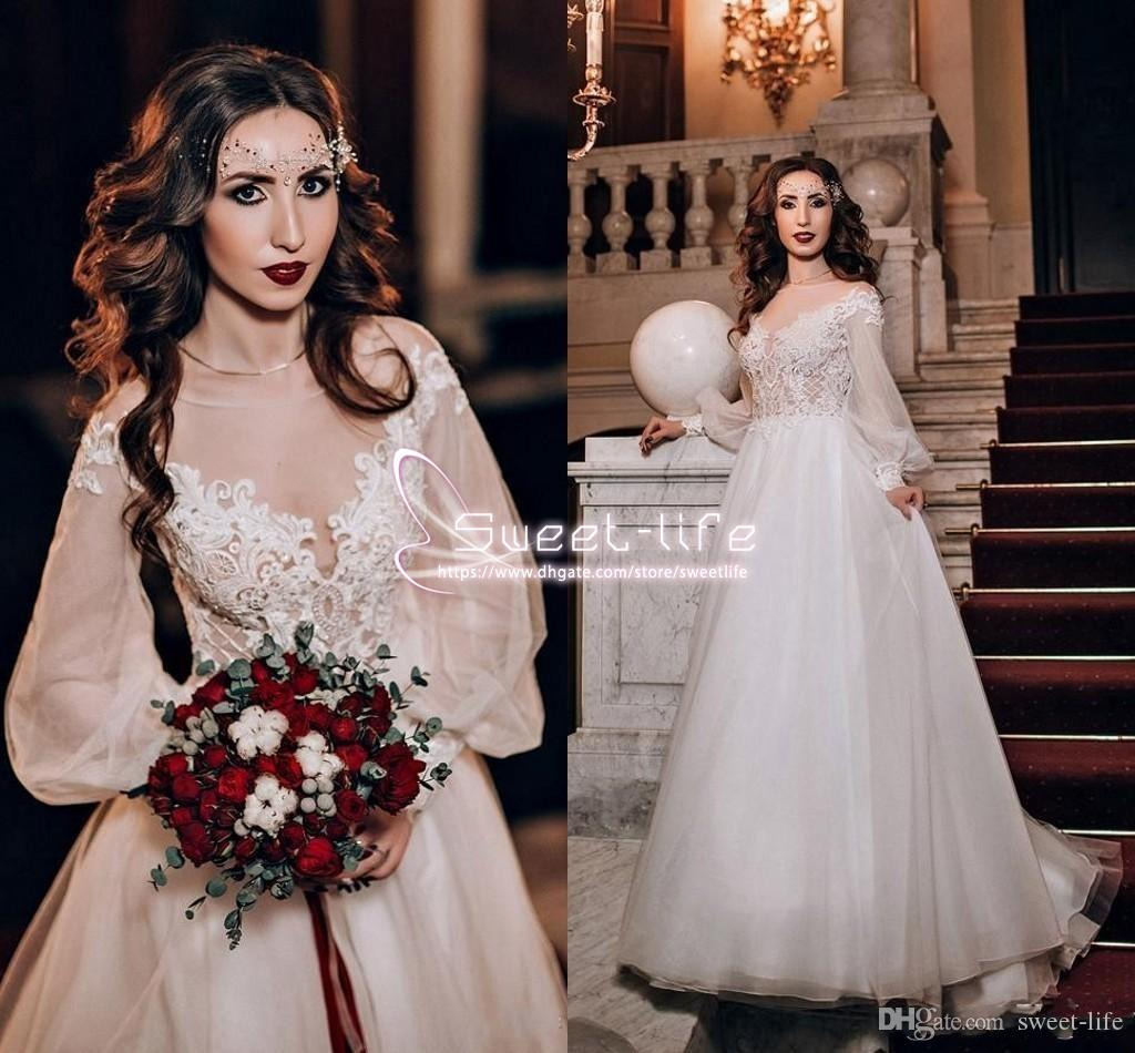 Pretty 2019 A-Line Wedding Dresses Scoop Long sleeves Illusion Lace Appliques Top Empire Soft Tulle Tiered Skirts Sweep Train Bridal Gowns