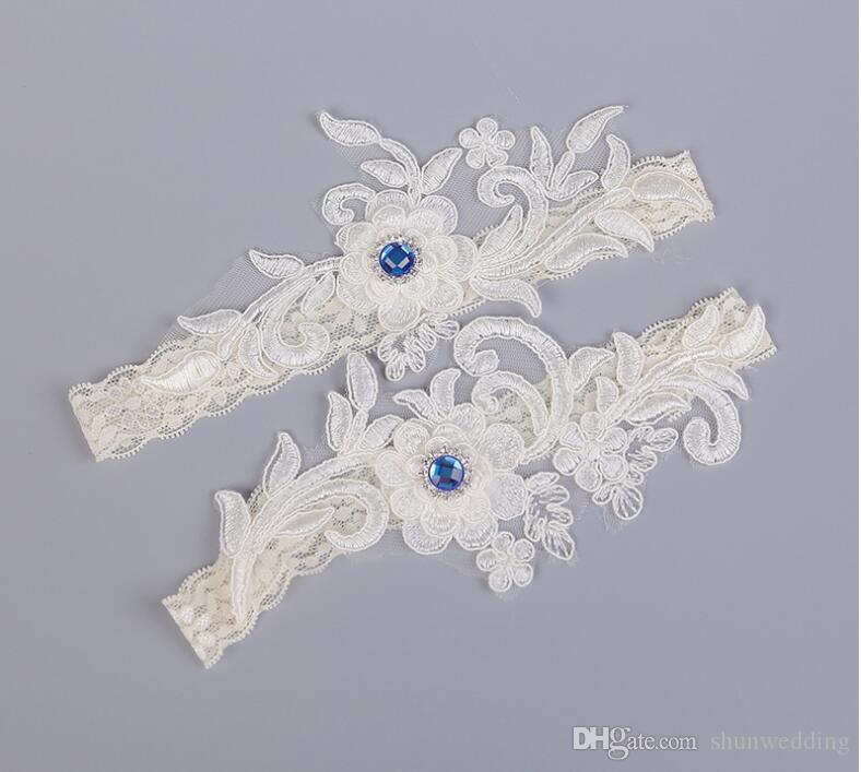 블루 Rhinstone 신부 웨딩 다리 가터 여성 가터 화이트 자수 섹시한 가터의 2 개 / 세트 고품질 무료 배송