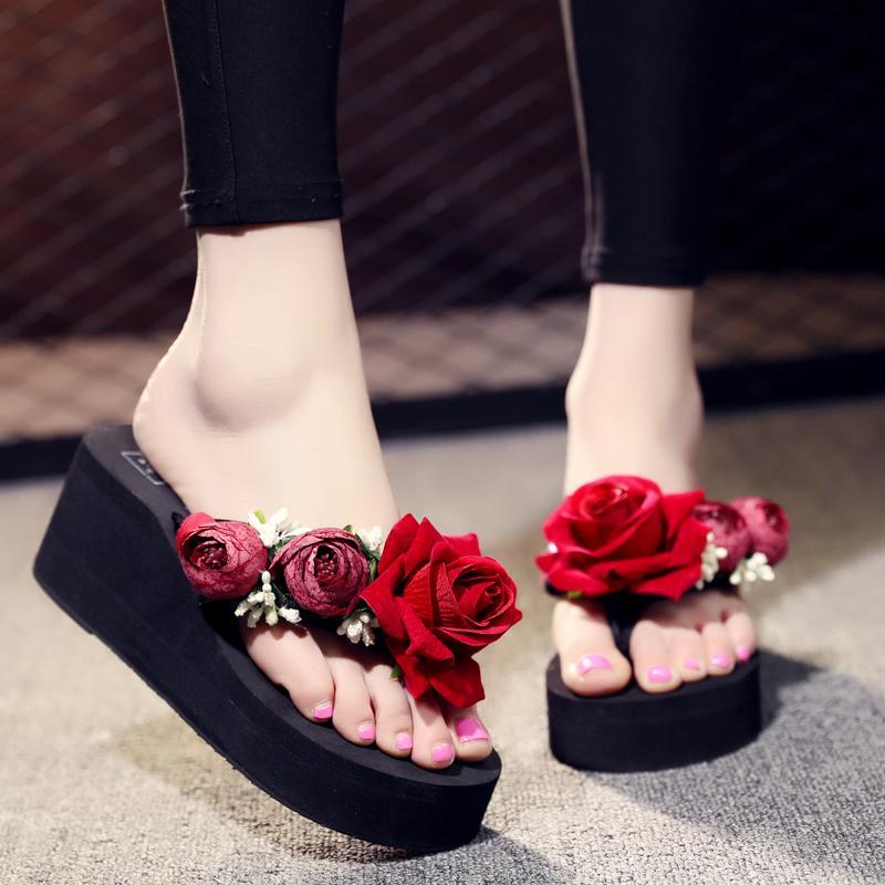 83919d1f7 Compre Mulheres Verão Cunhas Flip Flops Mulher Calçados De Verão Com ...