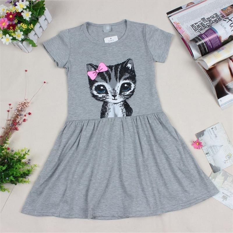 e41680a24353 2019 Girl Princess Dress Hot Sale New 2018 Summer Cat Print Grey Baby Girl  Cartoon Dress Children Clothing Kids Cotton Dress 2 8years From Haofei3487,  ...