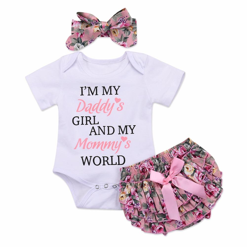 f21fafbebb85 2019 Puseky Baby Daddy Girl Mommy World Short Sleeve Romper Top+ ...
