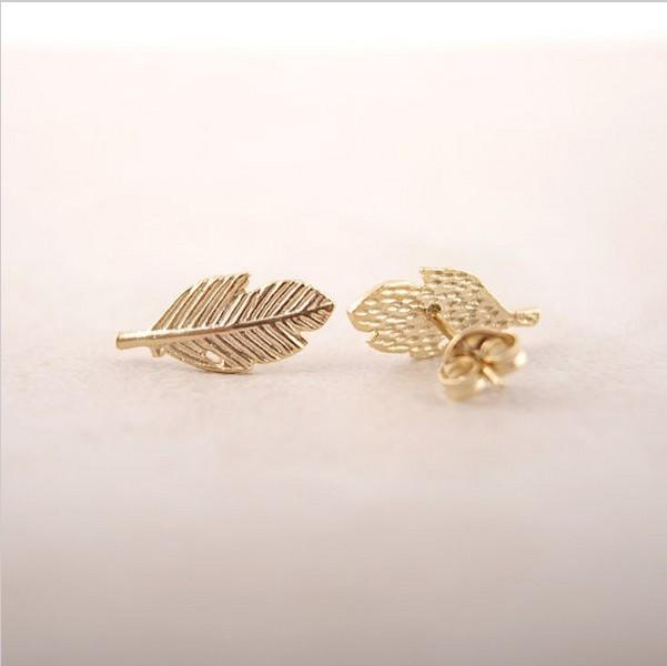 The latest elements A leaf stud earrings Gold-color/silver plated/rose Gold-color earrings wholesale