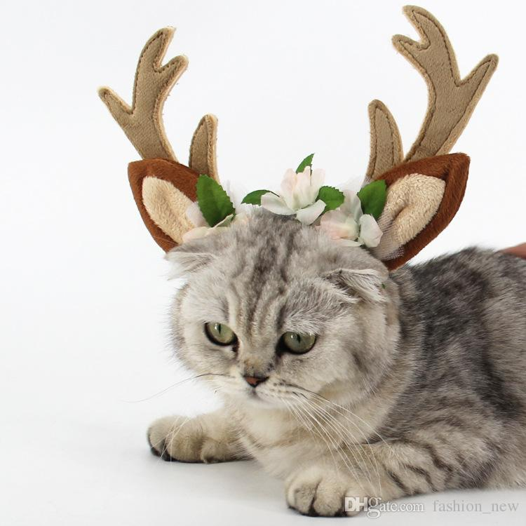 New Hot Fashion Cat Grooming Hair Accessories Cute Deer Horn Flower Dog Head Band Princess Pet Clothing