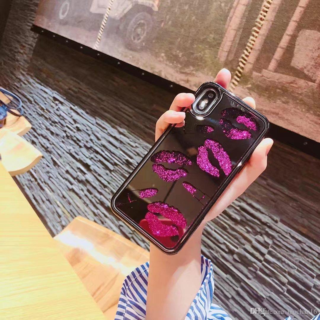 Sexy Lips Bling Glossy Phone Case Glitter Kiss Lipstick Gloss Back Cover Makeup Mirror Shinning Shell for iPhone X 6s 7 8 Plus