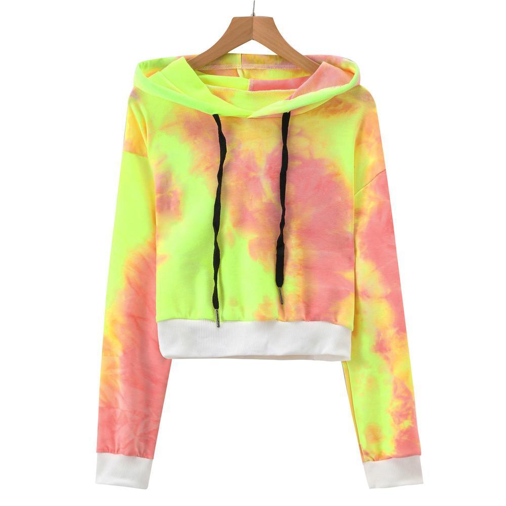 063846c55be2d 2019 Women S Sexy Printed Hooded Long Sleeve Short Sweatshirt Hoodies Tops  Blouse Casual Long Sleeve Female Sweatshirt Fall From Jamie22