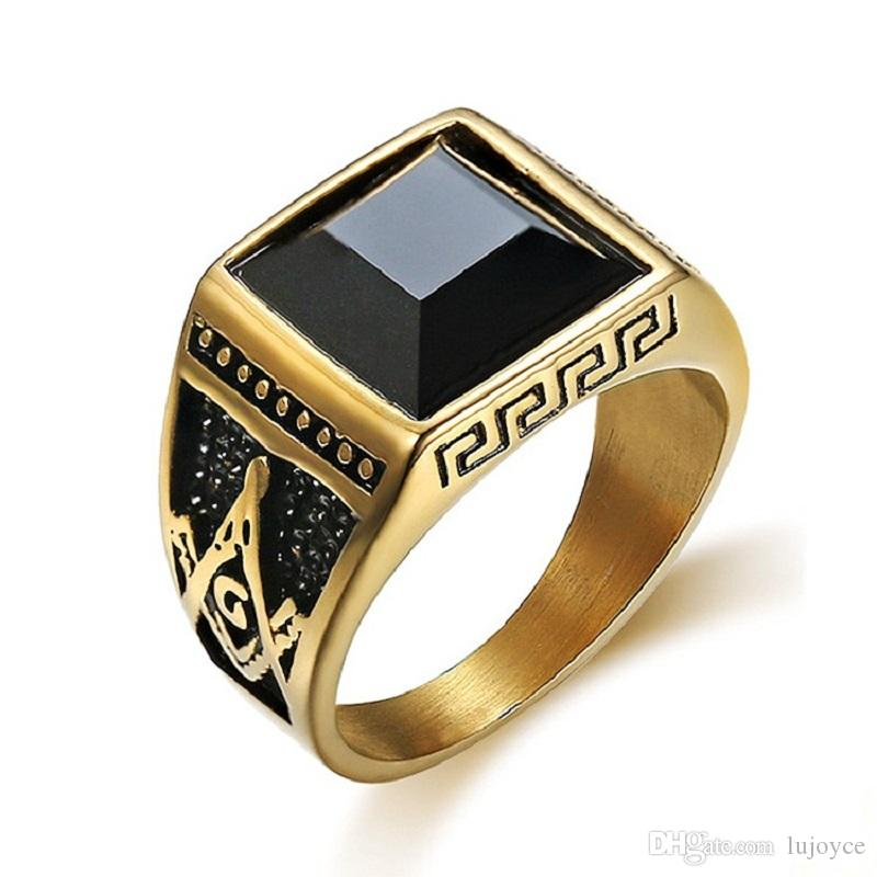 Gold Color Stainless Steel Men Masonic Rings Setting Black Big Stone  Freemason Masonic Ring For Men Jewelry