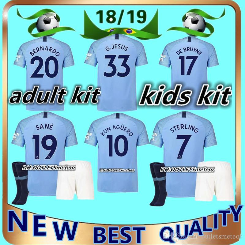 cd3c3b0e8 2019 2018 2019 Man City Soccer Jerseys Adult And Kids Kit DZEKO KUN AGUERO  KOMPANY TOURE YAYA DE BRUYNE Shirt Adult Kids Football Jersey Full Kit From  ...
